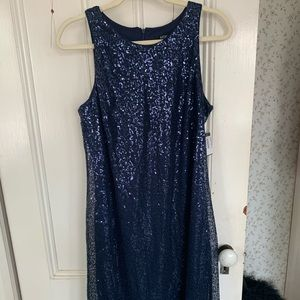 Navy blue tiny sequined dress MSK size 10, NWT
